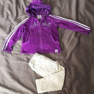 Adidas jacket and skinny jeans size 2
